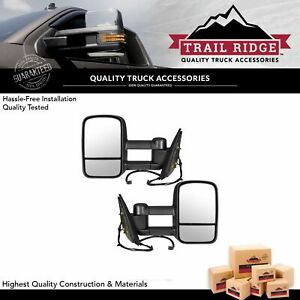 Trail Ridge Tow Mirror Power Heated Textured Black Pair Set For Gm Pickup Suv