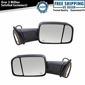 Towing Mirror Power Heated Turn Signal Puddle Light Black Pair For Dodge Ram New