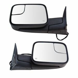 Towing Mirror Power Heated Textured Black Pair Set For Dodge Ram Pickup New