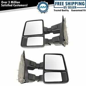 Towing Mirror Power Heated Turn Signal Textured Black Pair For Ford Super Duty