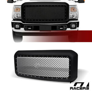 For 2011 2016 Ford F250 F350 Superduty Matte Black Rivet Bolt Steel Mesh Grille