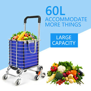 35l 3 Wheels Shopping Cart Outdoor Folding Foldable Jumbo Basket Trolley Grocery