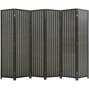 6 Panel 72 Inch Room Divider Bamboo Folding Privacy Wall Divider Wood Screen