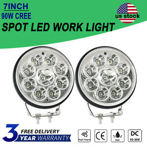 Pair 7 Inch Round Cree Led Driving Work Light Spot Spotlight Offroad Suv Truck