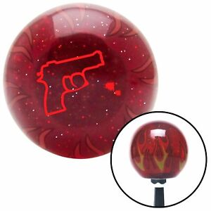 Red Gun Outline Red Flame Metal Flake Shift Knob W M16x1 5 Insert Shifter Auto