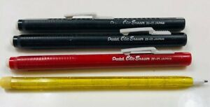 3pk Pentel Clic Eraser Grip Barrel Pentel Ze 21 Japan Vtg Black red 80 s School