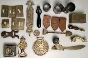 Lot Antique Vintage Metal Copper Brass Iron Items Hand Hammered Clip Box 3 Lbs