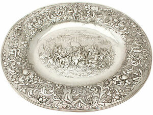German Sterling Silver Charger Plate Antique 1886 1400g Width 41cm