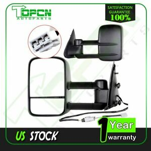Power Black Towing Mirrors For 1997 2003 Ford F150 97 99 F250 Light Duty Pair