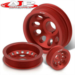 Engine Performance Aluminum Pulley Wheel Kit Red For Nissan 350z Infiniti G35