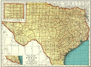 1939 Antique Texas State Map Vintage Map Of Texas Gallery Wall Art 7553