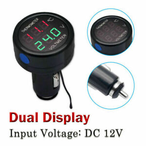 Au 2 In 1 Car Auto 12v Red Green Dual Display Led Digital Thermometer Voltmeter