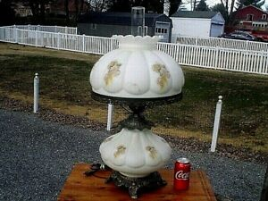 Large 25 Floral Vintage Parlor Type Table Lamp 3 Way