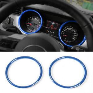 2x Inner Dashboard Decor Ring Cover Trim For Ford Mustang 2015 Accessories Blue
