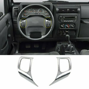 Car Steering Wheel Trim Cover For 1997 2006 Jeep Wrangler Tj Accessories Chrome