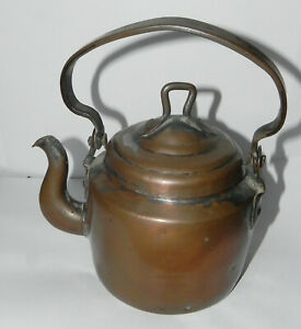 Antique Handcrafted Early 19th Century Folk Art Copper Tea Kettle 150 200 Years