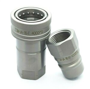 New 1 Npt Iso 7241 1 a Quick Disconnect Poppet Valve Hydraulic Coupling Set