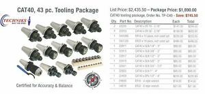 Techniks Cnc Ct 40 Tooling Package 43 Pc Collet Chucks Collets