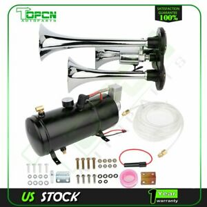 150db 3 Trumpets Train Air Horn Kit With 12v 150 Psi Air Compressor Air System