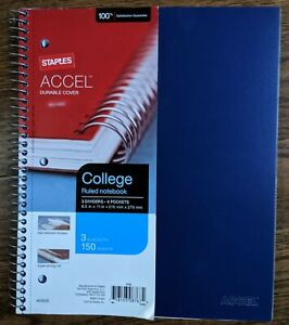 Staples Accel Durable Cover 3 Subject Notebook 8 1 2 X 11 College Ruled