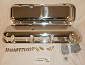 1965 95 Bbc Chevy Polished Aluminum Valve Covers With Hole Short 396 502