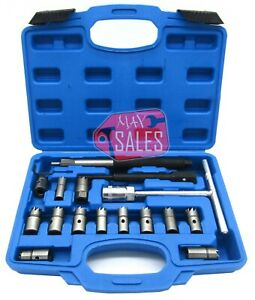 17pc Diesel Injector Seat Cutter Cleaner Universal Injector Re face Reamer Tools