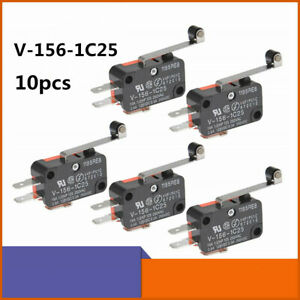 10pcs V 156 1c25 Micro Limit Switch Long Hinge Roller Momentary Spdt Snap Action