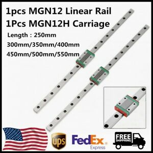 Mgn12 12mm Linear Rail Guide L250 550mm W Mgn12h Sliding Block Carriage For Cnc