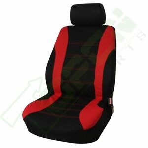 9pcs Auto Black Red Universal Front Rear Air Mesh Fabric Full Seat Covers Set
