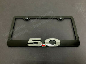 1x 5 0 For Mustang 3d Emblem Black Stainless License Plate Frame Screw Caps