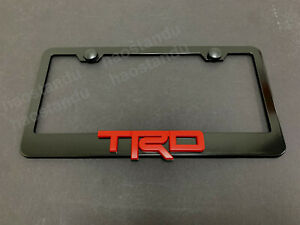 1x Redtrd 3d Emblem Black Stainless License Plate Frame Rust Free Screwcap Red