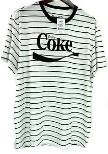 Coca Cola Mens Short Sleeve T Shirt White with Black Strips 2XL