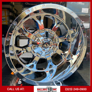 20x12 Offroad Krank On 33 12 50r20 Chrome Wheels With Off Road Tires Fuel Chevy