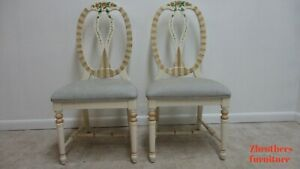 2 Lexington Furniture Paint Decorated Balloon Back French Dining Side Chairs B
