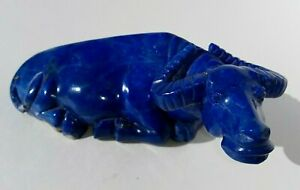 Chinese Hand Carved Cobalt Blue Lapis Lazuli Water Buffalo Ox Stone Sculpture