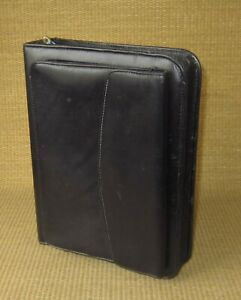 Classic Franklin Covey quest Black Leather 1 5 Rings Zip Planner binder Purse