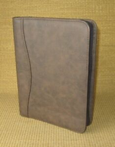 Desk Day timer Brown Sim Leather 1 Rings Planner binder Franklin Classic