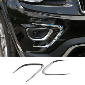 2x Side Front Fog Light Lamp Trim Cover Strip For Jeep Grand Cherokee 2014 2016