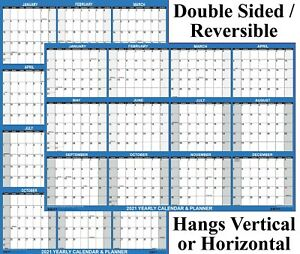 24x36 Swiftglimpse 2022 Large Wall Calendar Paper Folded Yearly Planner Navy