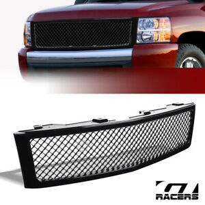 For 2007 2013 Chevy Silverado 1500 Glossy Black Mesh Front Bumper Grill Grille