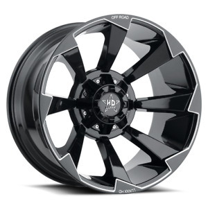 22x10 Lhd16 6x135 139 7 18 110 Gloss Black Milled Off Road Wheels Set Of 4