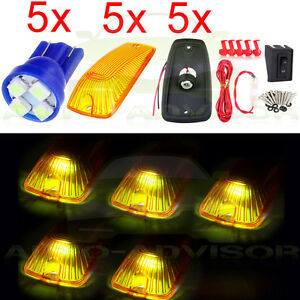 5 5 smd 168 Led Bulb Amber Cab Marker Roof Light Wiring Pack For Chevy