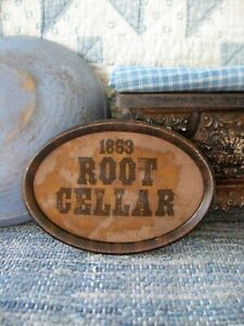 Cloth Root Cellar Sign In Antique Tin Frame Free Shipping