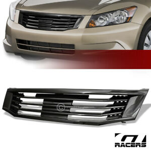 For 2008 2010 Accord 4 Door Glossy Black Mu Style Front Hood Bumper Grille Guard