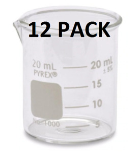 12 Pyrex Labware Low Form Corning Glass Beakers 20 Ml Full 12 Pc Case New