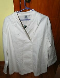 Chef Revival Double Breasted White Chef Coat Size Large White Buttons New