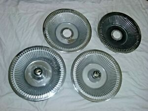 1961 Chrysler Imperial Hub Caps 15 Stainless Set Of 4 With Chrome Centers H118