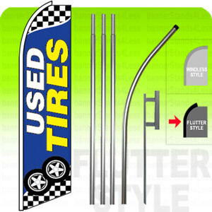 Used Tires Swooper Flag Kit Feather Banner Sign 15 Flutter Style Bb