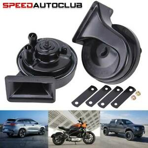 2x Black Motorcycle Atv Car Auto Pick Up 12v Loud Dual Tone Snail Electric Horn