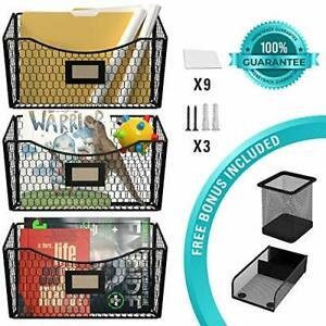Wall File Holder Metal Sets Of 3 Rustic Hanging Wall File Organizer With